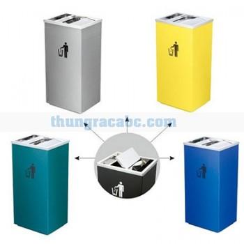 Thùng đựng rác inox nắp lật có khay gạt tàn thuốc lá