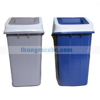 Thùng đựng rác bằng nhựa hdpe nắp bập bênh 60 lít