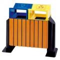 Thùng rác bằng gỗ hai ngăn phân loại rác thải
